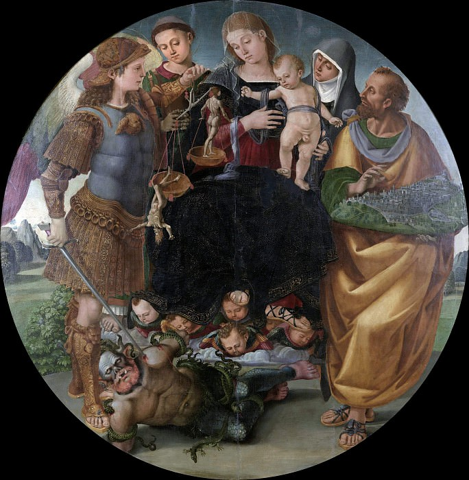 Madonna surrounded by patron saints of the city of Cortona. Luca Signorelli