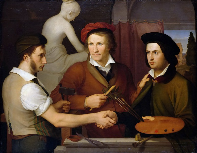Self Portrait with his Brother Rudolf and Bertel Thorvaldsen. Friedrich Wilhelm Von Schadow