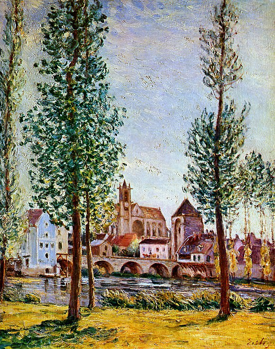 Sisley Alfred Moret sur Loing Bridge church and mill Sun. Alfred Sisley