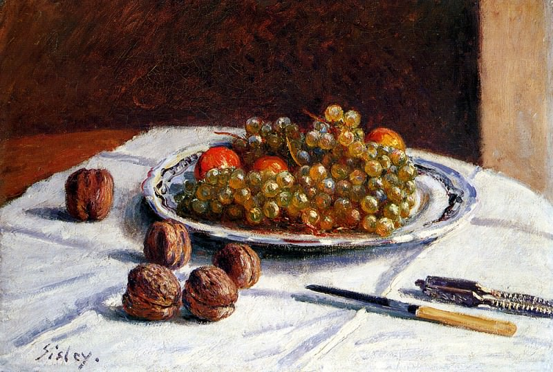 Sisley Alfred Grapes And Walnuts On A Table. Alfred Sisley