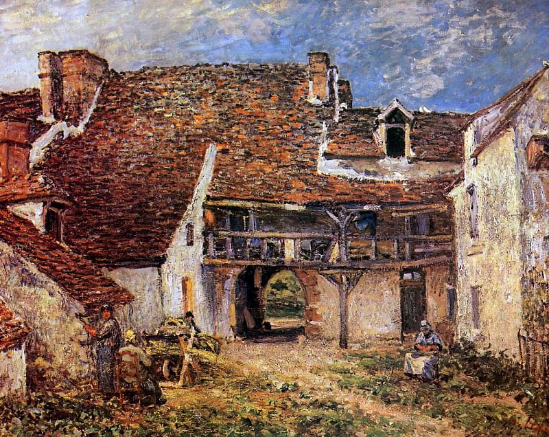 Sisley Alfred Inner court of smithy Sun. Альфред Сислей