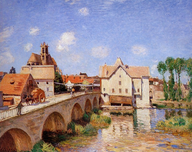 Sisley Alfred The bridge in Moret Sun. Alfred Sisley