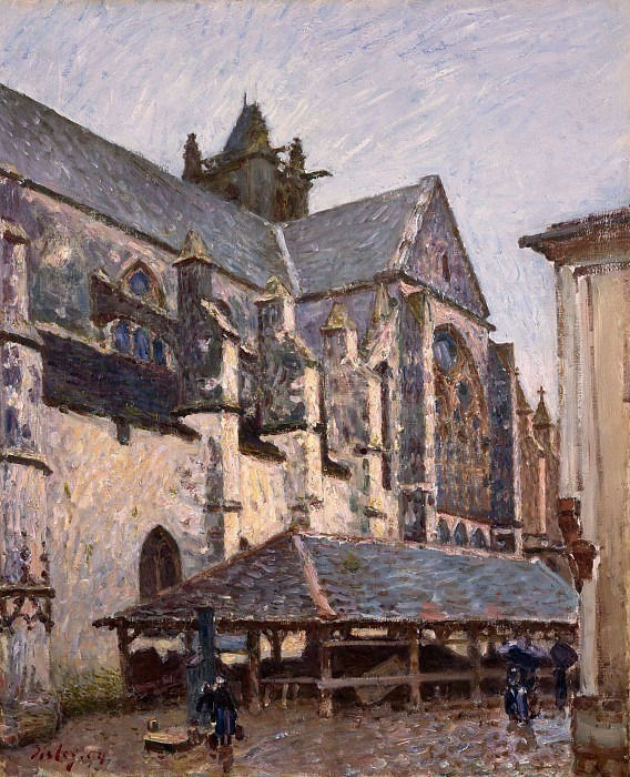 The Church at Moret in the Rain. Alfred Sisley
