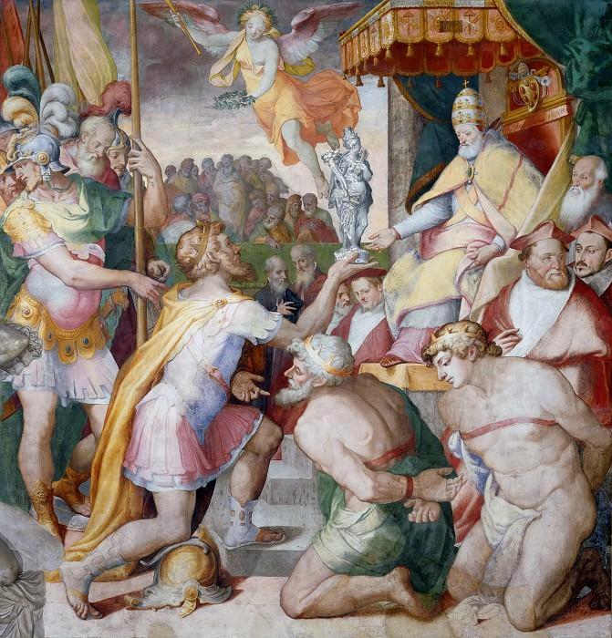 Оттон I возвращает имущество церкви папе Иоанну XII. Орацио Самаккини