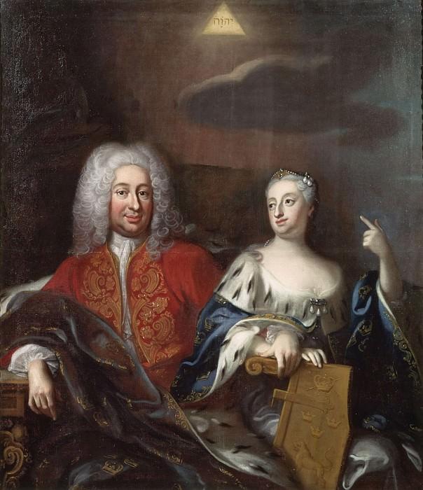 Fredrik I (1676-1751), king of Sweden and Ulrika Eleonora. Georg Engelhard Schröder