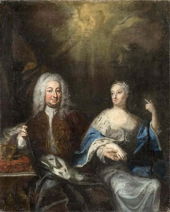 Fredrik I (1676-1751), and Ulrika Eleonora d.y., (1688-1741). King and Queen of Sweden. Georg Engelhard Schröder