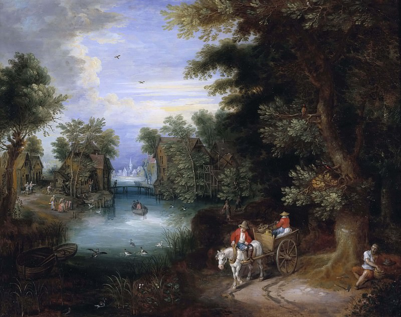 River Landscape with Peasants. Adriaan van Stalbemt