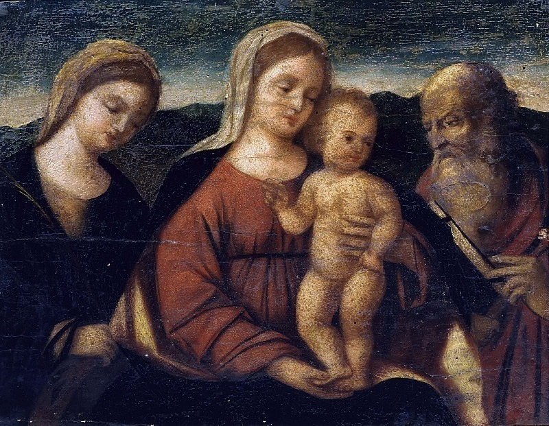 Мадонна с младенцем между святыми Екатериной Александрийской и Иеронимом. Франческо ди Симоне да Сантакроче