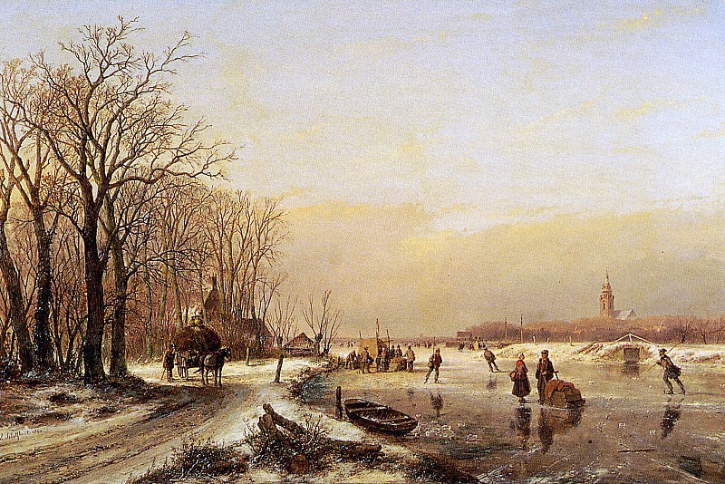 Schelfhout Andreas Winter landscape with scaters Sun. Andreas Schelfhout
