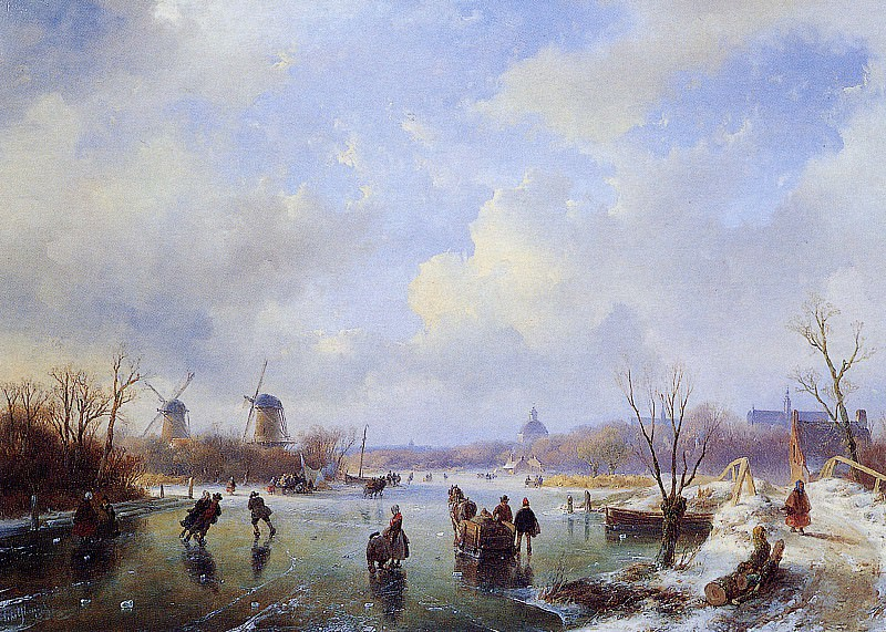 Schelfhout Andreas Scaters on frozen river with mill Sun 2. Андреас Схелфхаут