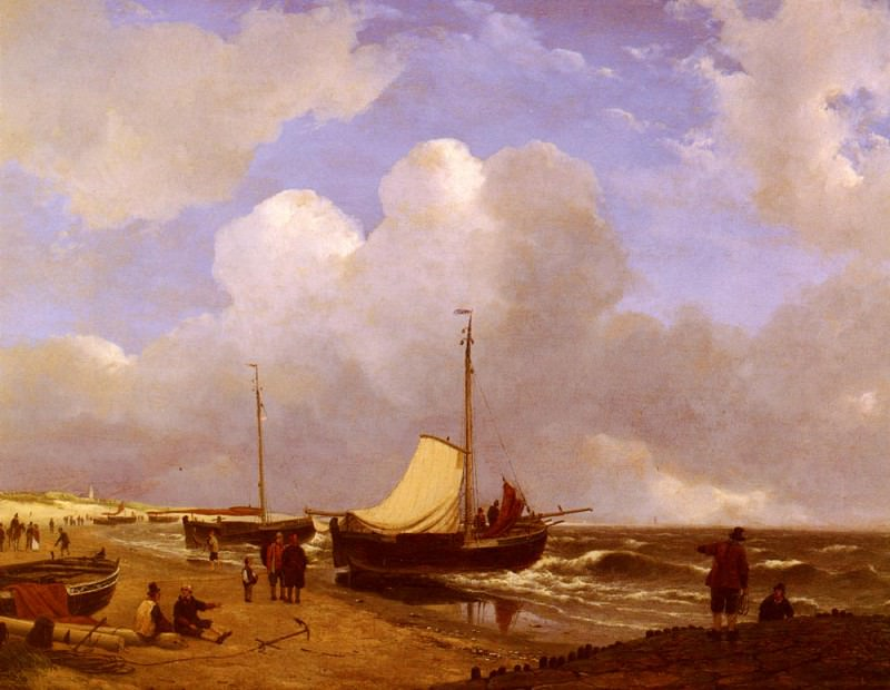Schelfhout Andreas Moored On The Beach. Андреас Схелфхаут