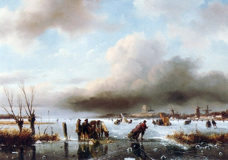 Schelfhout Andreas Winter landscape with scaters. Andreas Schelfhout