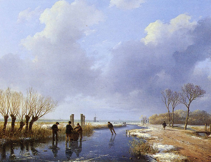 Schelfhout Andreas Wood gatherers Sun. Andreas Schelfhout