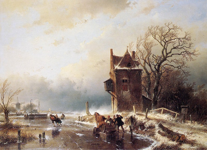 Schelfhout Andreas Scaters in stormy weather Sun. Андреас Схелфхаут