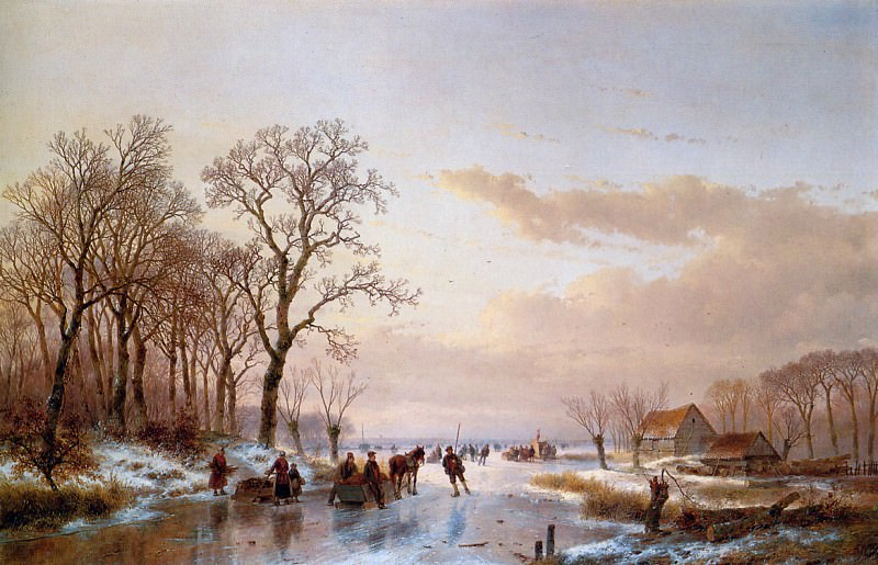 Schelfhout Andreas Frozen canal near the Maas Sun. Andreas Schelfhout