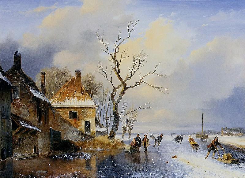 Schelfhout Andreas Winter landscape 1 Sun. Andreas Schelfhout