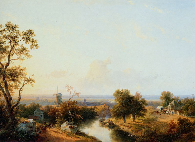 Schelfhout Andreas Riverlandscape Sun. Andreas Schelfhout