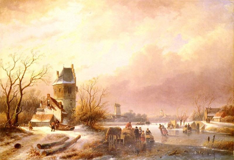 Schelfhout Andreas Skaters On A Frozen River. Andreas Schelfhout