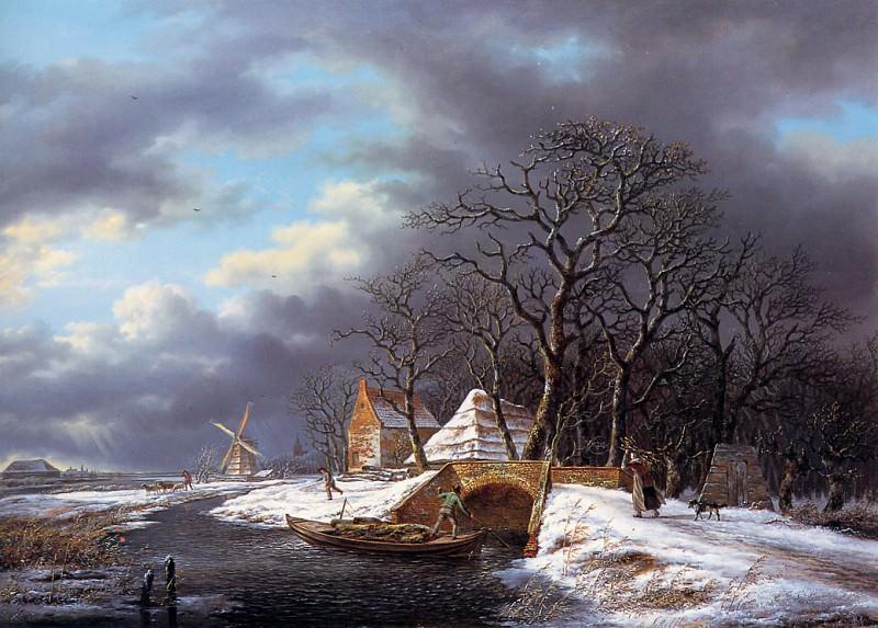 Schelfhout Andreas Winterlandscape Sun. Andreas Schelfhout