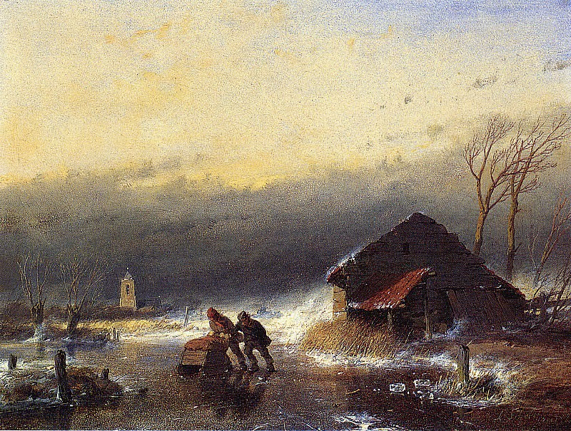 Schelfhout Andreas Winter storm Sun. Андреас Схелфхаут