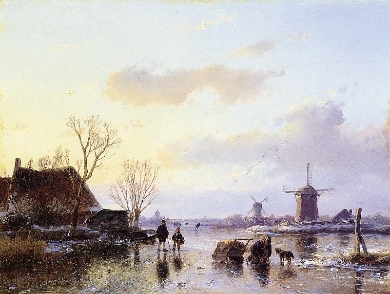 Schelfhout Andreas Mills along frozen canal Sun. Андреас Схелфхаут