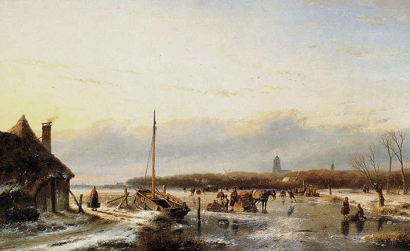 Schelfhout Andreas Ice view with boat and farm Sun 2. Андреас Схелфхаут