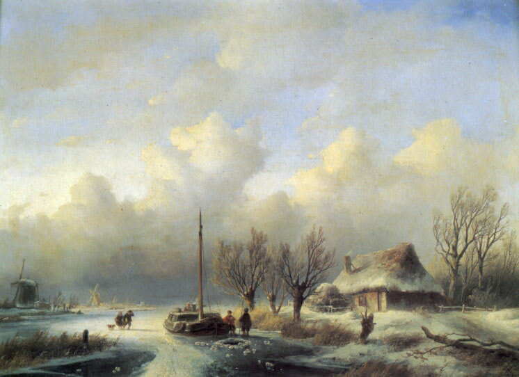 Figures in a Winter Landscape. Andreas Schelfhout
