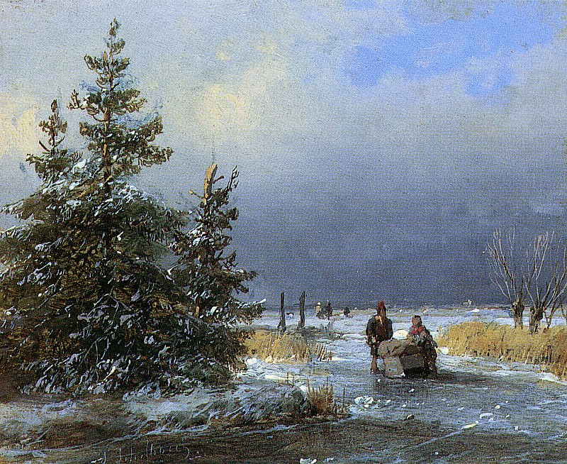Schelfhout Andreas Scaters on frozen river 3 Sun. Андреас Схелфхаут