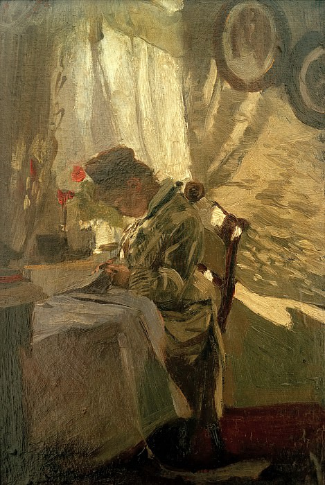 Seamstress at the window. Franz Skarbina