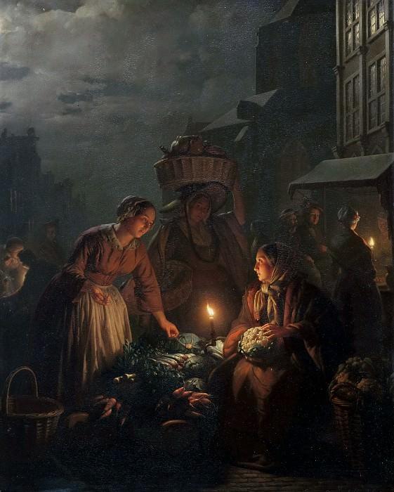 Овощной рынок вечером. Петрус ван Шендель