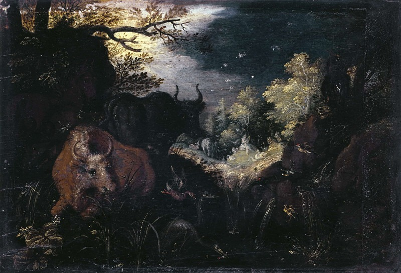 Landscape with dogs hunting deer. Roelandt Jacobsz Savery