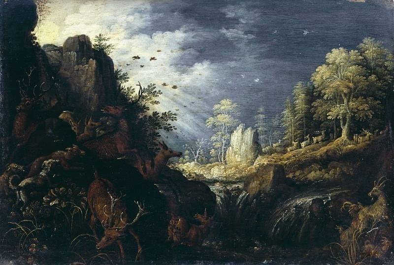 Landscape with Orpheus enchanting animals. Roelandt Jacobsz Savery