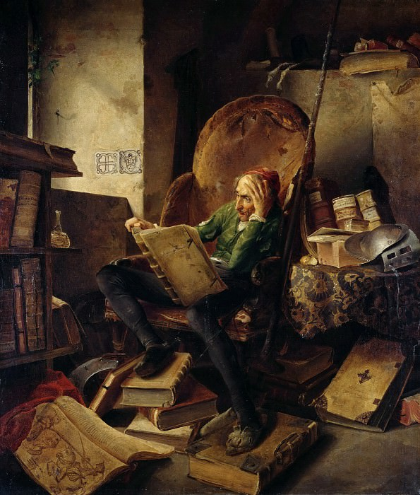 Don Quichote Seated in an Armchair Reading the Chivalric Novel Amadis of Gaul. Adolf Schrodter