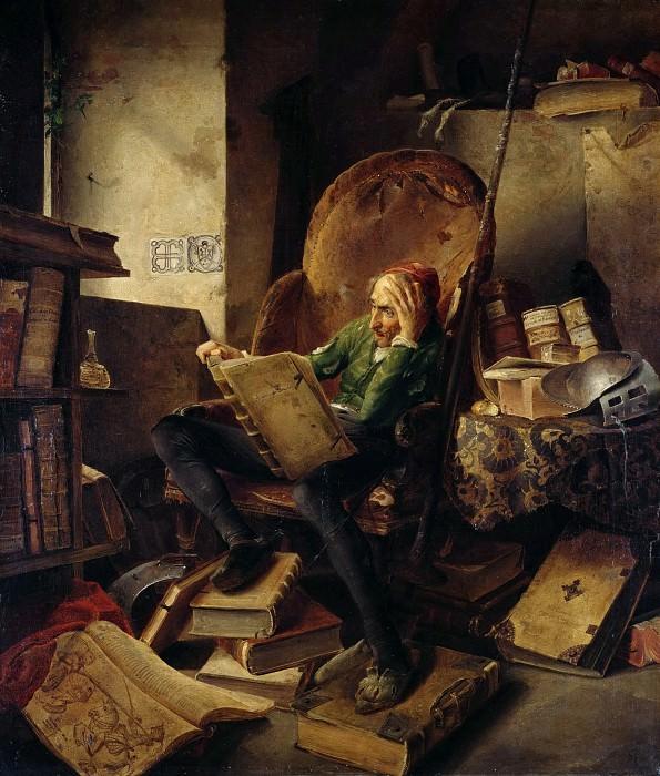 Дон Кихот в кресле, читающий рыцарский роман об Амадисе Гальском. Адольф Шрёдтер
