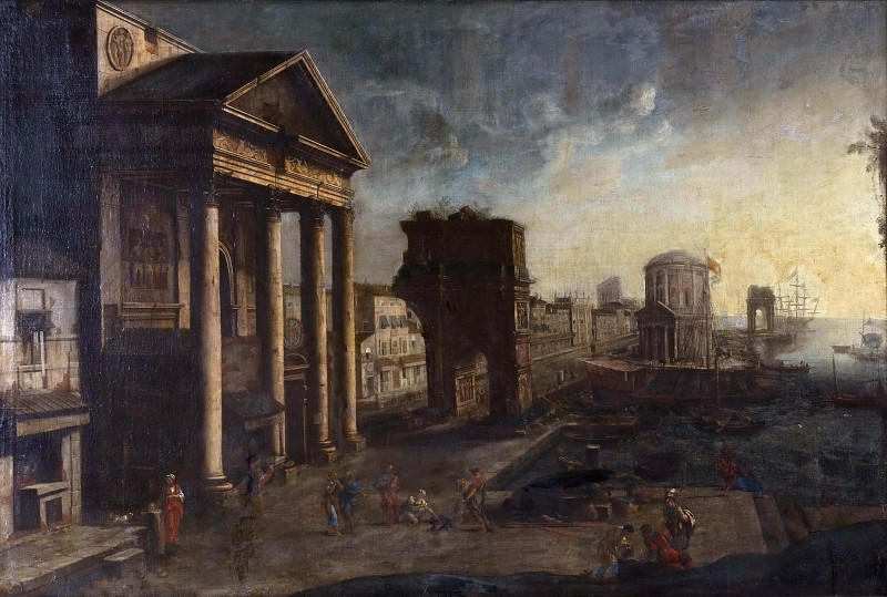 Harbour with Capriccio. Alessandro Salucci