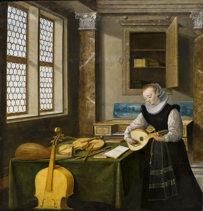 Lady Playing the Lute. Hendrik van Steenwijk II