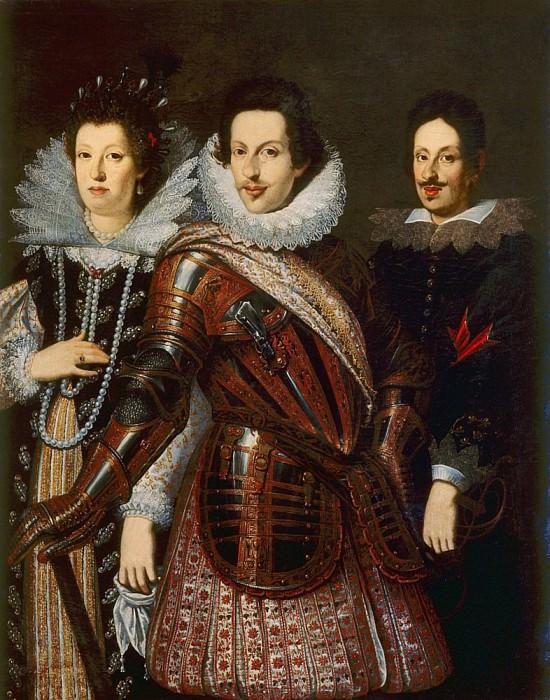 Portrait of Marie Madeleine of Austria, Cosimo II and Ferdinand II de Medici. Justus Sustermans