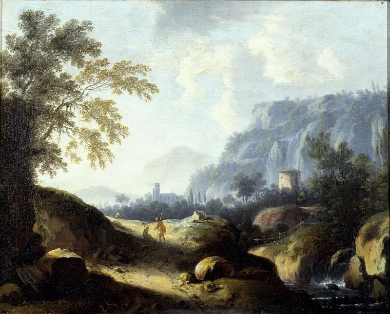 Скалистый пейзаж с путниками. Бернард Лукас Санц