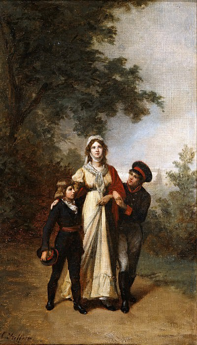 Queen Luise with her sons in the park by Luis choice. Carl Steffeck