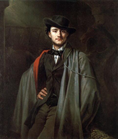 Bildnis des Malers Baron Jessenack von Bela. Carl Steffeck