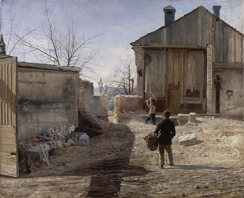 Demolishing the Old Orphanage, Stockholm. Anshelm Schultzberg