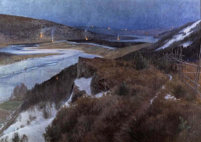 Walpurgis Night in Bergslagen, Grangärde in Dalarna. Anshelm Schultzberg