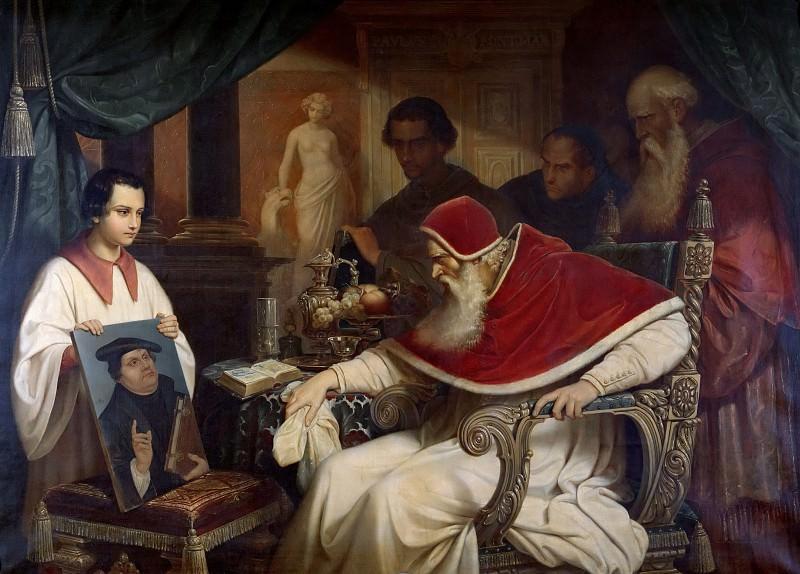Папа Павел III рассматривает портрет Лютера работы Кранаха. Карл Шорн