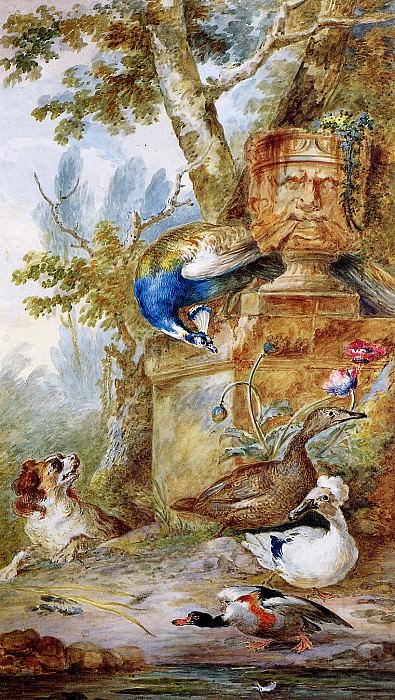 Schouman Aert Birds and a dog in park Sun. Aert Schouman