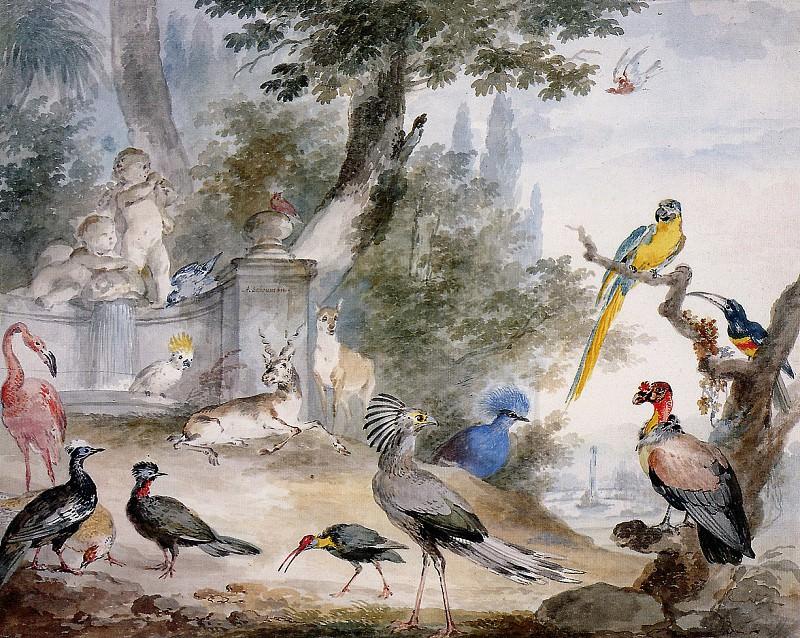 Schouman Aert Birds at a fountain Sun. Aert Schouman
