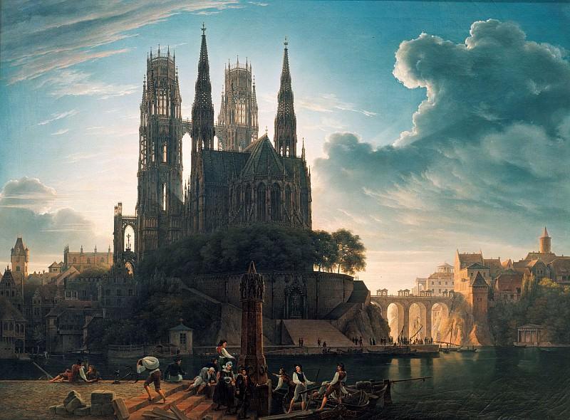 Gothic Cathedral by the Water. Karl Friedrich Schinkel