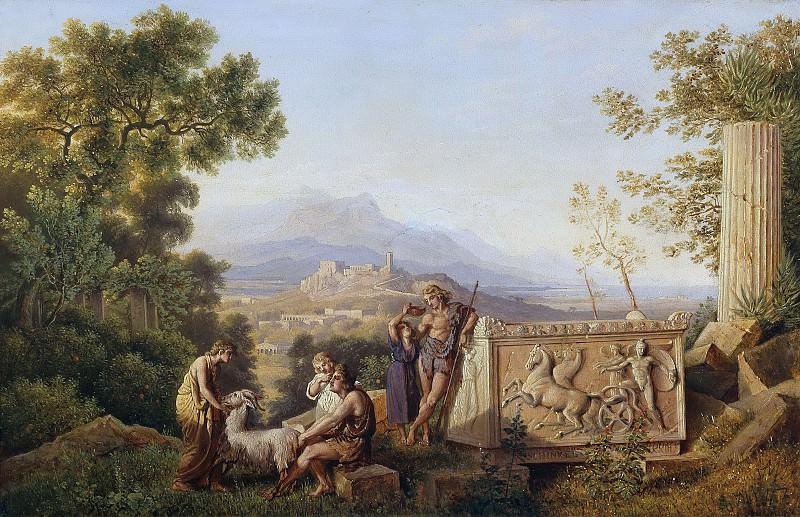 Идеализированный греческий пейзаж с отдыхающими пастухами. Карл Фридрих Шинкель