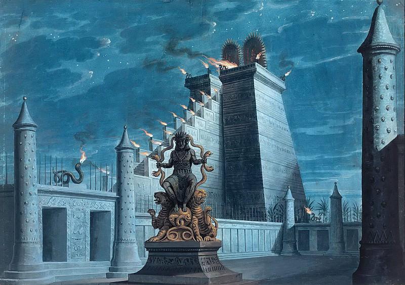 Храм огня ацтеков. Карл Фридрих Шинкель