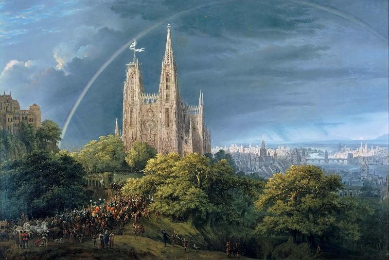 Средневековый город на реке. Карл Фридрих Шинкель