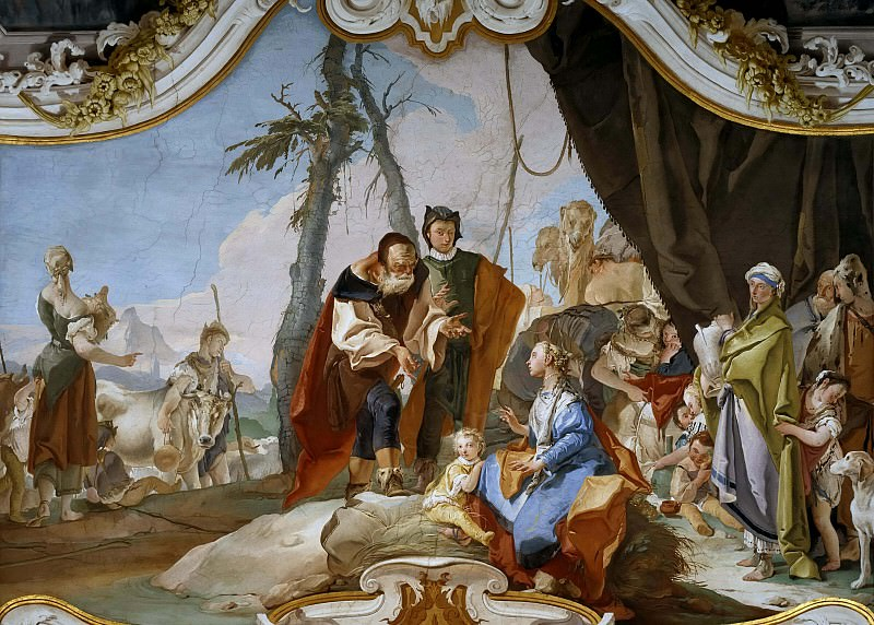 Laban searches for the images of gods, hidden by Rahel. Giovanni Battista Tiepolo